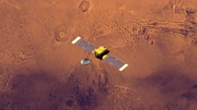 Top view of Surveyor spacecraft above Mars at -109 degrees longitude. Data: NASA/JPL.