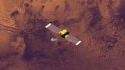 Top view of Surveyor spacecraft above Mars at -33 degrees longitude. Data: NASA/JPL.