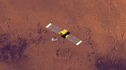 Top view of Surveyor spacecraft above Mars at 180 degrees longitude. Data: NASA/JPL.