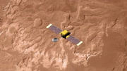 Top view of Surveyor spacecraft above Mars' Eberswalde Crater. Data: NASA/JPL.