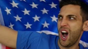 American Guy Celebrating with Flag - in Slow Motion