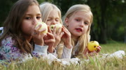 Three girls eating apples in the park - habdheld shot