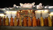 Monks chant walk chinese temple