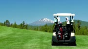 Golf cart sits on green under blue sky by Oregon mountains
